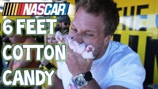 Eating 6 Feet Of Bacon Cotton Candy in 3 Minutes At NASCAR!