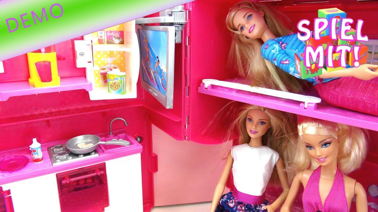 Barbie Wohnmobil Wohnwagen für vier Barbies mit Schwimmbad und Küche ...