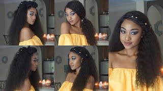HOW TO: CUTE, QUICK & EASY Hairstyles for CURLY LACE FRONT WIG   WowEbony   DisisReyRey