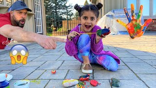 Sally PAINT ROCKS!! DAD Learn how to paint rocks with big mess
