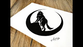 How To Draw a Wolf Howling  at the moon - Stencil  Art - Art Maker Akshay