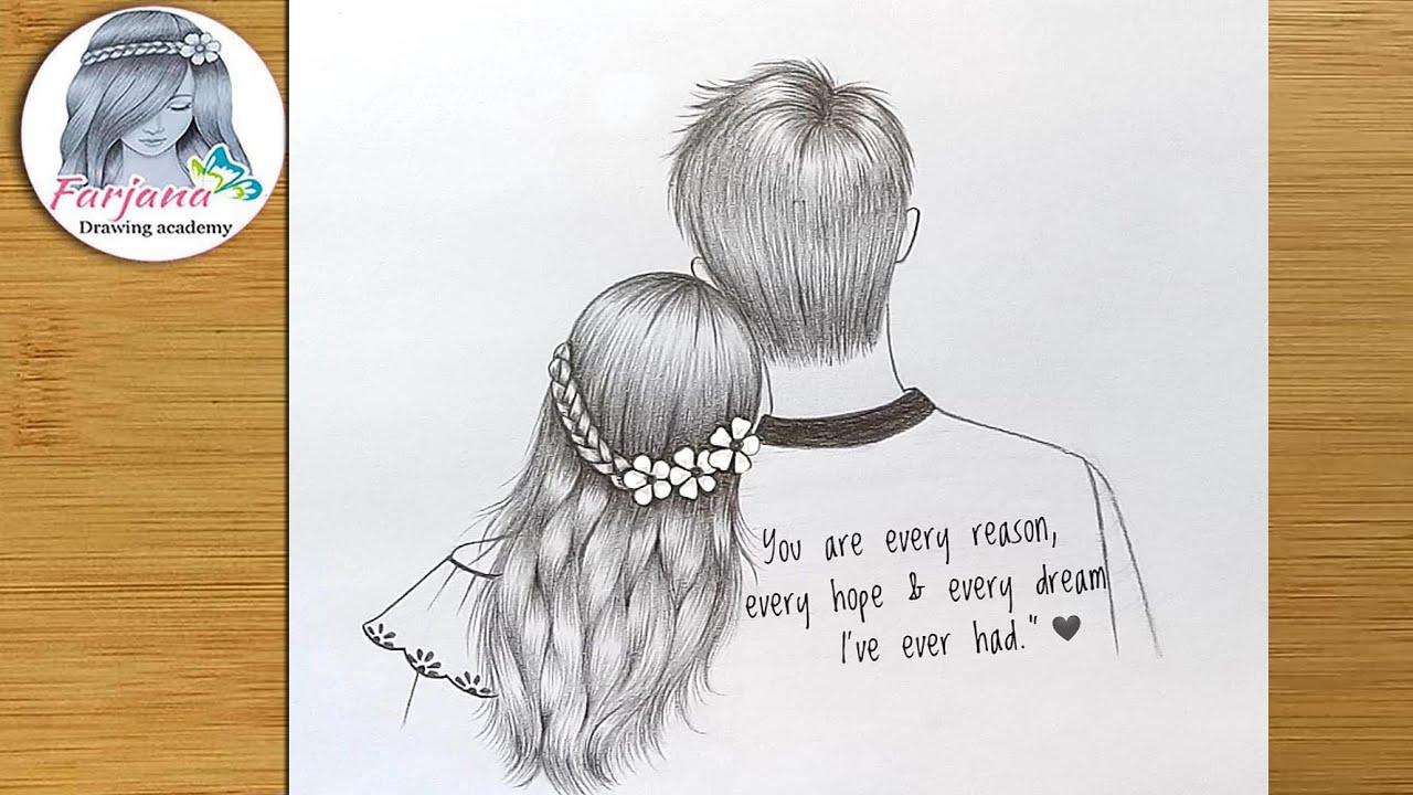 Easy Pencil Sketch   for beginners    How to draw a Valentine Couple     Kurşun kalem çizimi
