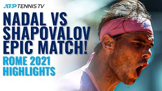 EPIC & DRAMATIC Battle Between Rafa Nadal and Denis Shapovalov in Rome!