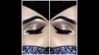 Soft glittery makeup using Huda beauty Rose Gold palette