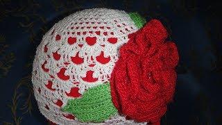 Летняя ажурная шапочка крючком для девочки. Crochet summer hat