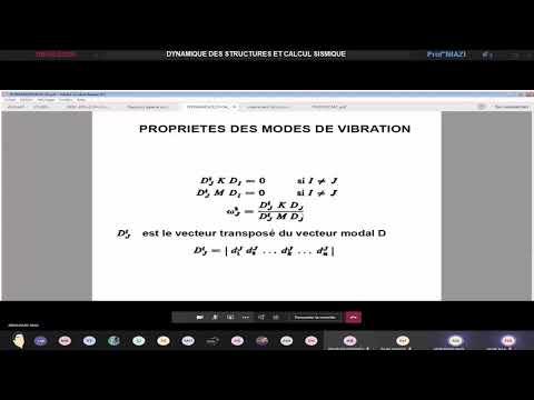 Dynamique des Structures et Calcul Sismique - (4GC CENTRE) | Prof Niazi (08-05-2020)