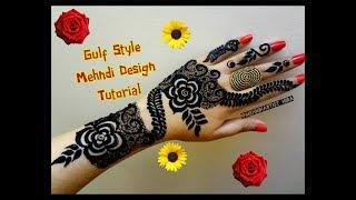 Beautiful khaleeji dubai gulf arabic style henna mehndi designs for hands for eid,diwali tutorial