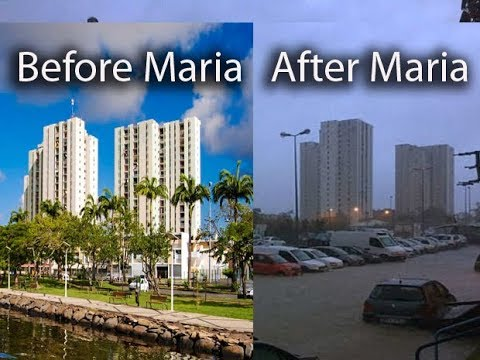Pointe-à-Pitre, Guadeloupe before and after Hurricane Maria, floods on hotels, schools