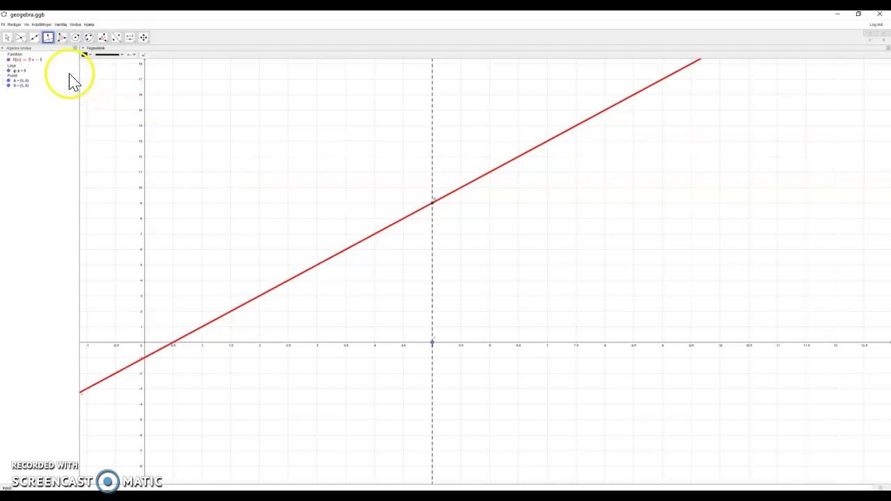Tegning af ret linje i Geogebra og grafisk løsning af ligninger