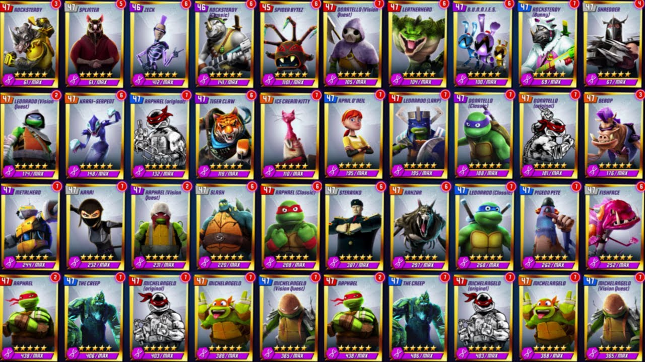 All Characters 69 Unlocked Teenage Mutant Ninja Turtles Legends Youtube