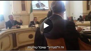אראל מרגלית מגיב לנציג הפלסטינים ברומא: ״המנהיגים האמיצים שלכם אוכלים טורטית בכלא בשביתת רעב״