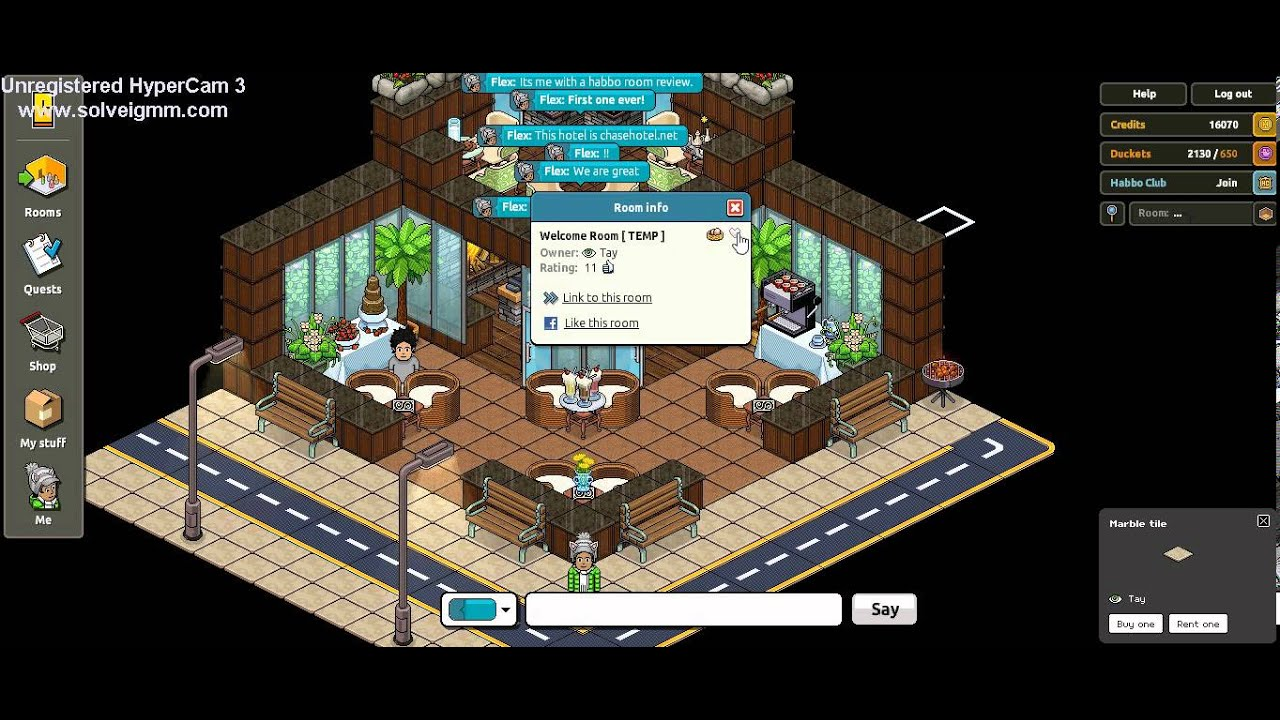 Habbo room review the welcome room youtube for Design hotel games