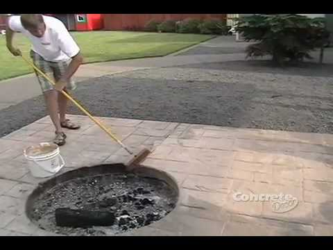 Restoring color to a stamped concrete patio - YouTube