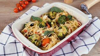 Спагетти с запеченными овощами и сыром Рецепты от Со Вкусом
