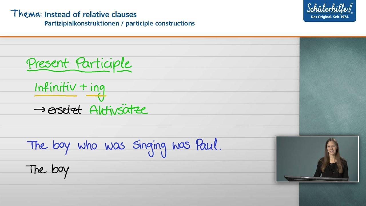 instead of relative clauses der satz englisch