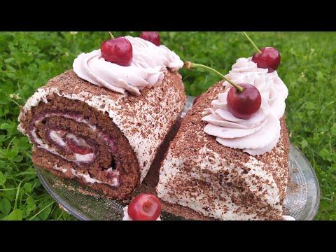 bûche-de-noël-/-gâteau-roulé-forêt-noir-à-la-cerise