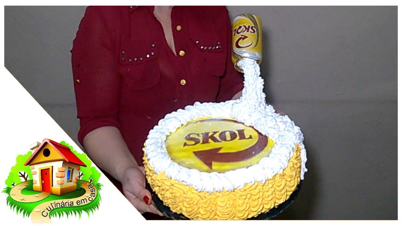 Well-known Bolo Skol com latinha/Bolo cerveja/decorando bolo simples com  WR42