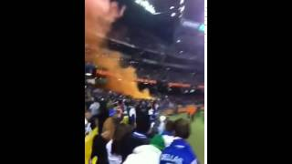 Flares at Greece vs socceroos