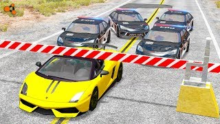 Beamng drive - Police Chases vs. Sports Cars crashes #2