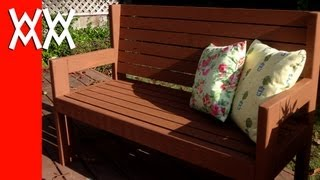 Build a simple garden bench. Easy woodworking project.