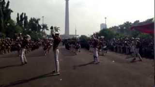 Kirab World Police DrumCorps Cendrawasih Batalyon Anindya Yodha di Jakarta
