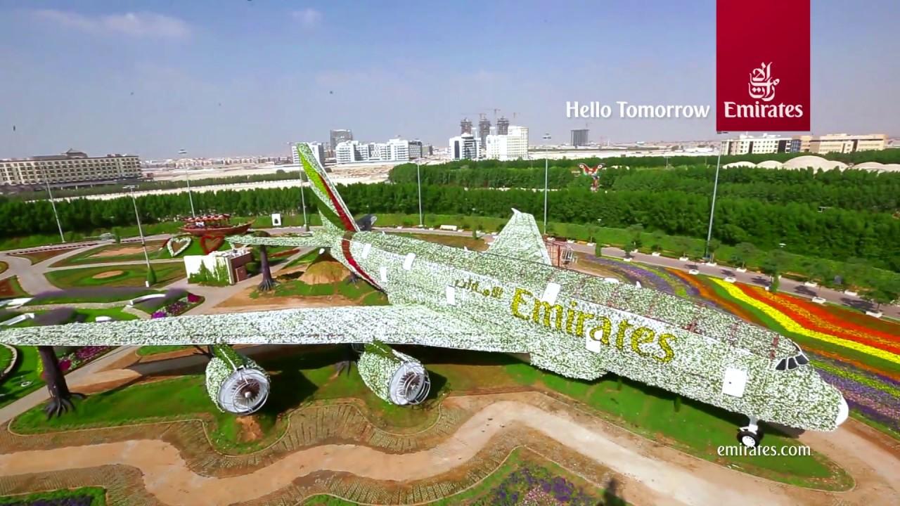emirates a380 at dubai miracle garden emirates airline youtube