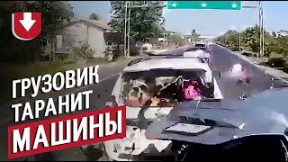 Жесткая авария грузовик протаранил 6 легковых авто