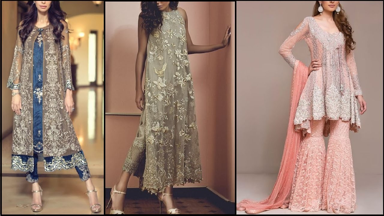 Original Albarino Net Embroidered Maxi Dress Gown And Stylish Anarkali Suits