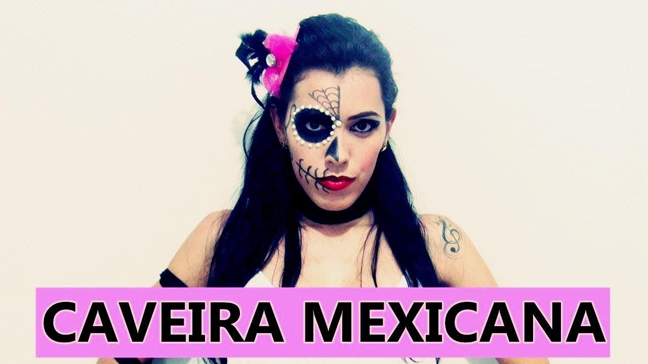 FAÇA SUA FANTASIA SEM GASTAR NADA - Tutorial Caveira Mexicana - YouTube 0bf0b4e8605