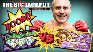 💎TRIPLE DIAMOND VS. GOLDEN GODDESS 🌹HIGH LIMIT SLOT PLAY ✦ Which game will win??!