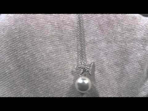 Jewelure 925 Silver Signity CZ Dancing Starfish Pearl Necklace VVS High End Lab Diamonds!