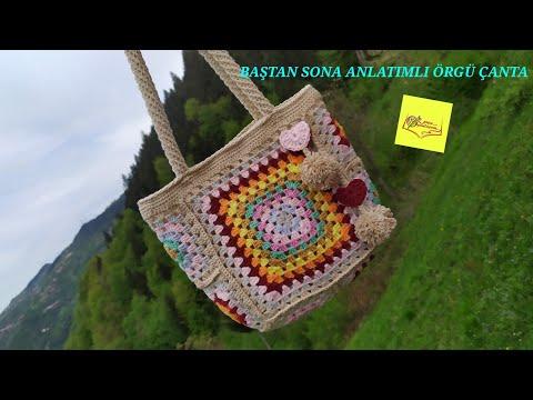 8 Motifli Çanta*örgü motif çanta yapımı* Baştan sona anlatımlı motif çanta yapımı