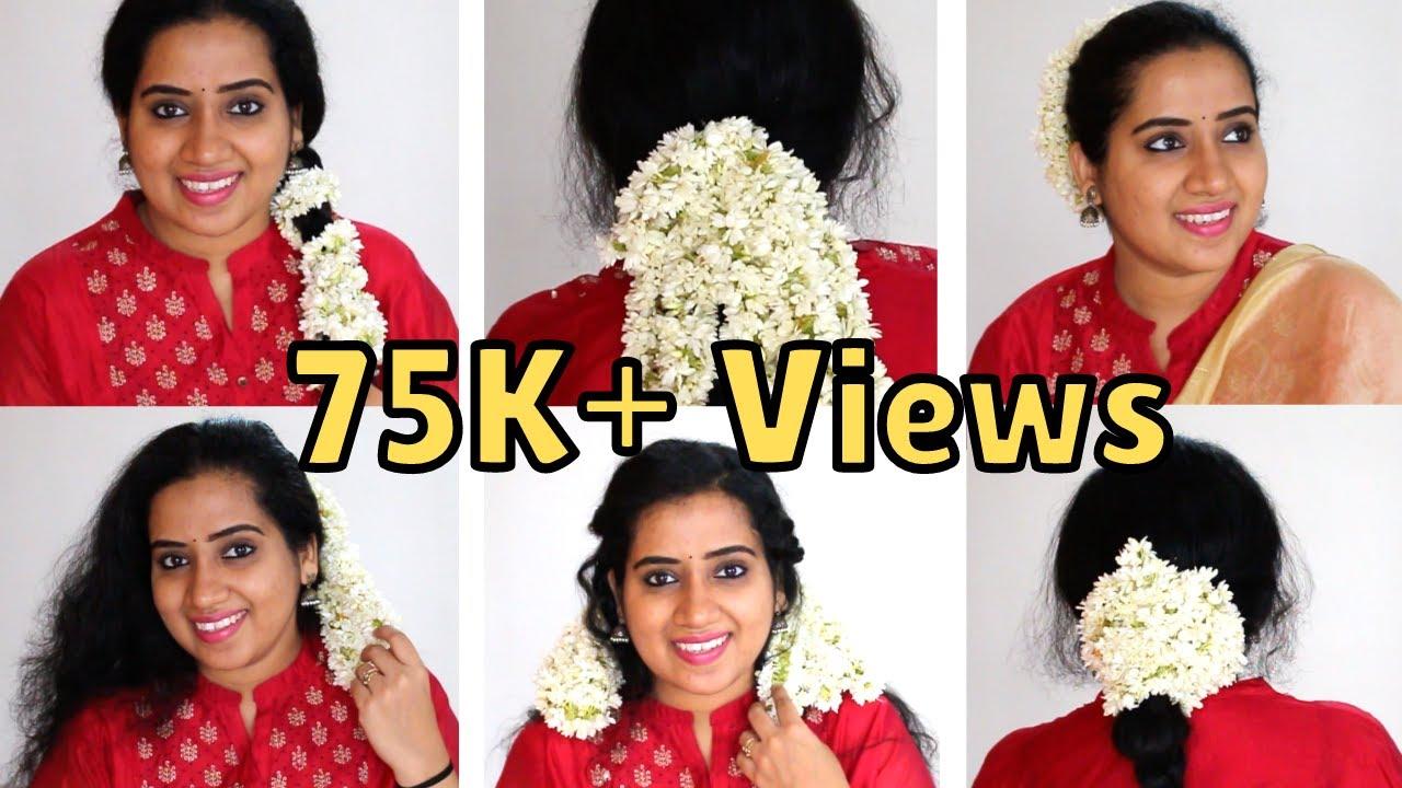 7 easy gajra hairstyles  jasmine flower hairstyles   മുല്ലപ്പൂ hairstyles   mullapoo hairstyles