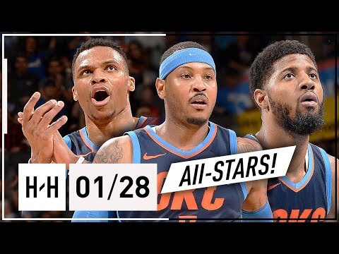 Russell Westbrook, Paul George & Carmelo Anthony BIG 3 Highlights vs Sixers (2018.01.28) - EPIC!