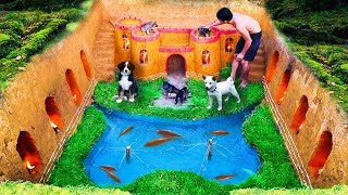 Dig To Build Underground House For Dog And Fish Pond Around House Puppy With Ancient Skills