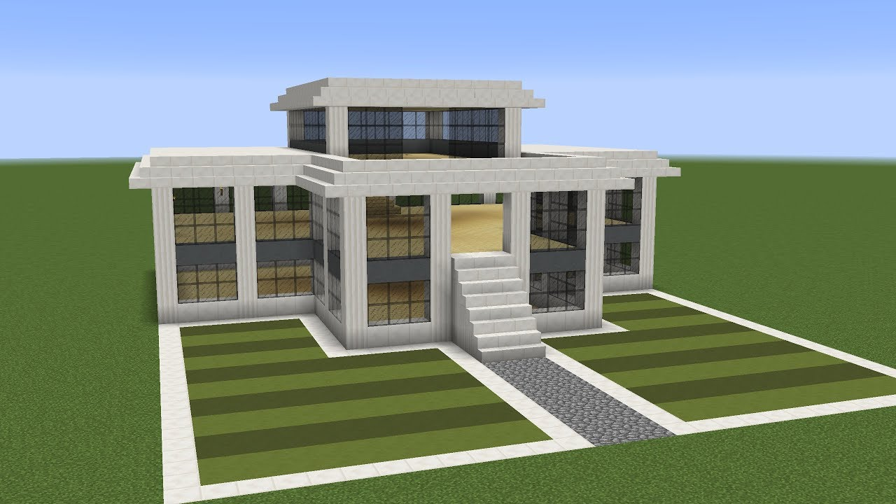 Minecraft how to build a modern villa youtube for How to build a modern home