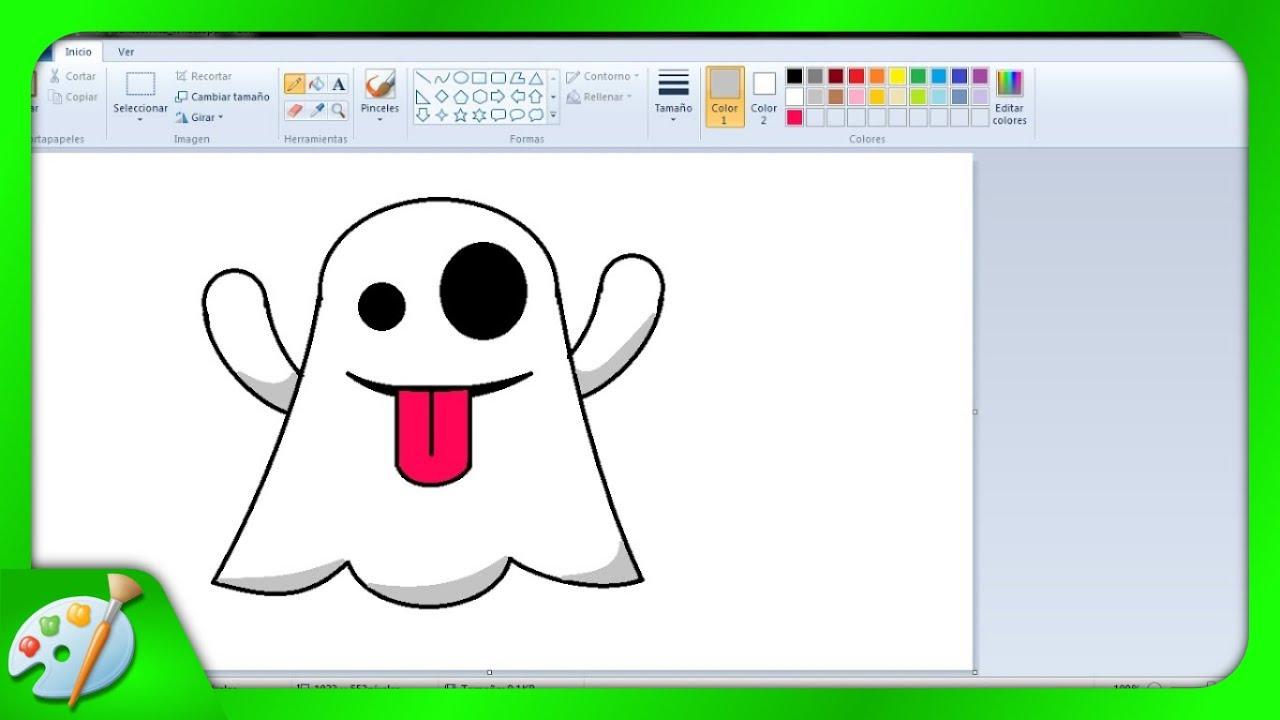 Dibujos para niños: Cómo dibujar un fantasmita con Paint - YouTube