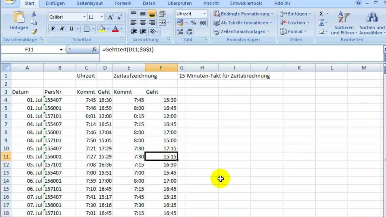Formeln Für Berechnungen Von Zeittakten Mit Excel Youtube
