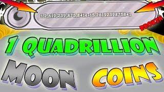1 moedas da lua de quadrillion!!! (1000 + trilhões)-Roblox simulador de estimação