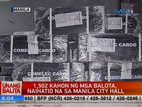 UB: 1,502 kahon ng mga balota naihatid na sa Manila City hall