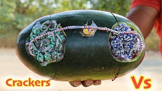 CRACKERS VS WATERMELON EXPERIMENT | CAN INDIAN DIWALI FIRECRACKERS DO THIS |