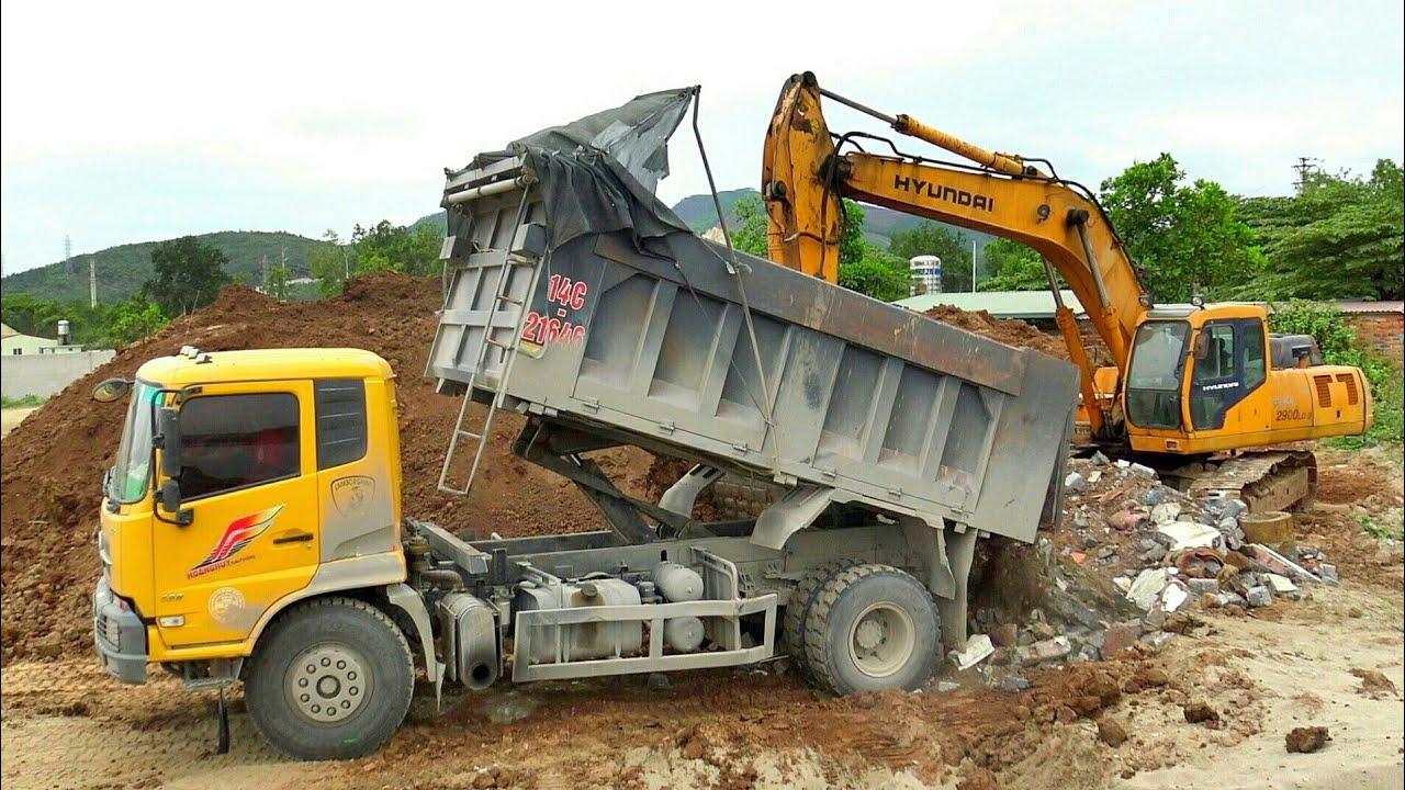 Máy Xúc Hyundai Làm Việc, Xe Ô Tô Tải Ben Chở và Đổ Đất | Excavator Dump Truck | TienTube TV