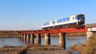 厚真川にかかる鉄橋を渡る日高本線キハ40形350番台 @北海道厚真町 Atsuma Hidaka train, Hokkaido