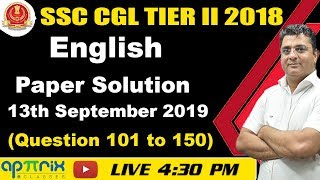 4:30 PM | SSC CGL Tier-II 2018 | English Paper Solution | 13th Sept 2019 (101to150) |Ashwani Sir |06