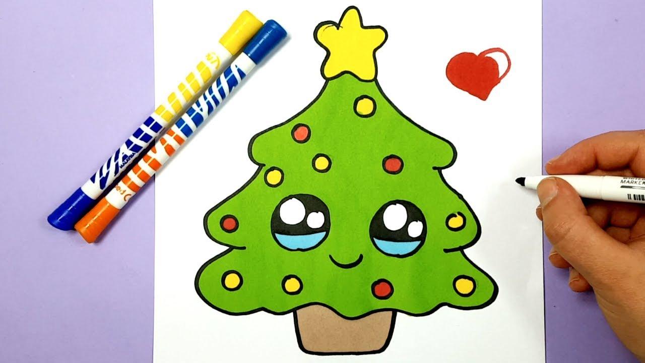 Kleine Weihnachtsbilder.Kawaii Tannenbaum Selber Malen