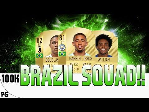 FIFA 18 - 100k! BEASTLY BRAZILIAN SQUAD! | Fifa 18 Squad Builder