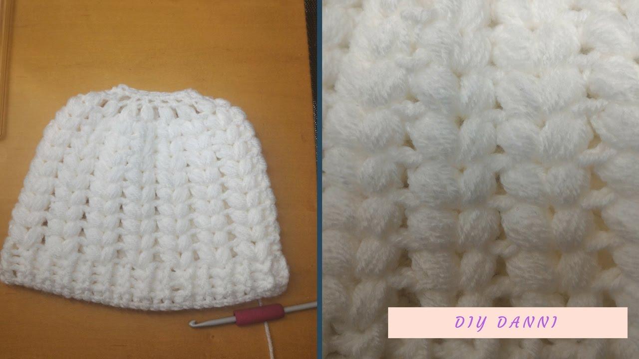 c16403c8806 Crochet Puff Stitch Messy Bun Beanie - YouTube