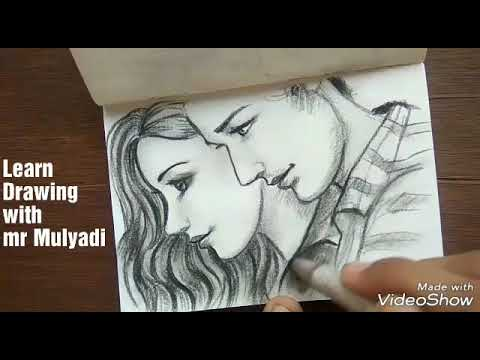 Drawing COUPLE FACE From Side SLOW VERSION Easy Tutorial