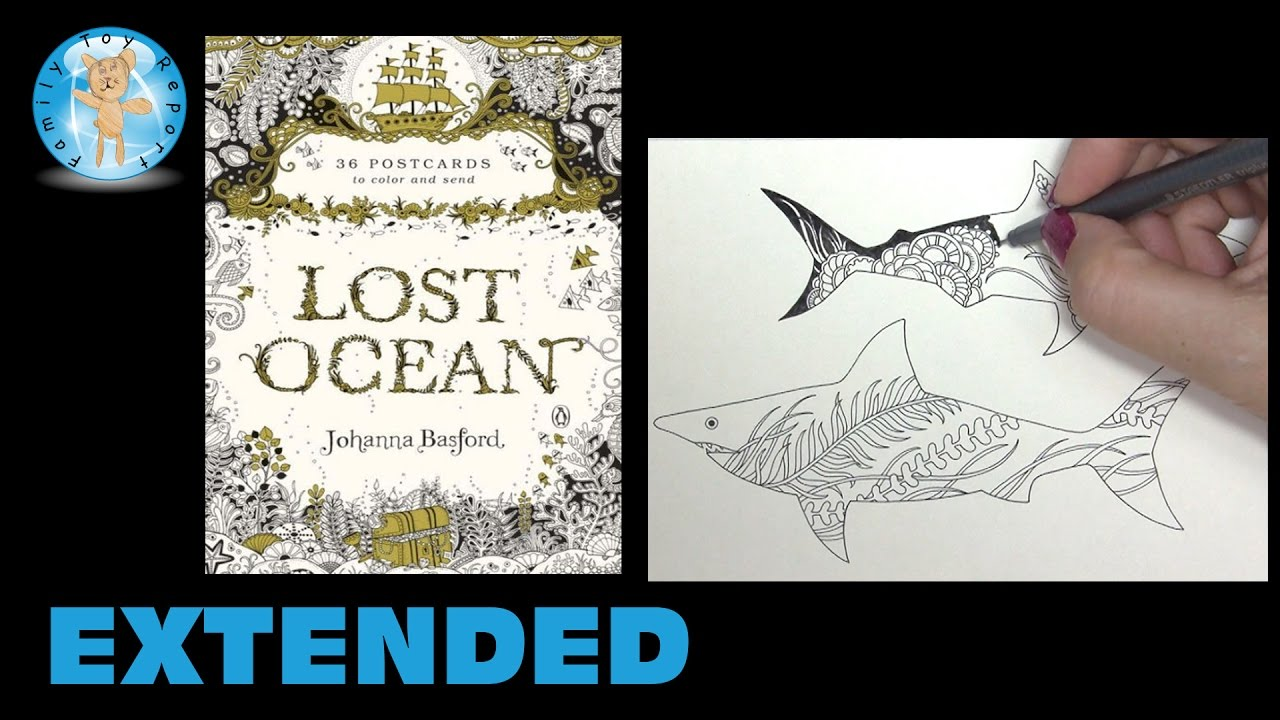 Lost Ocean By Johanna Basford Adult Coloring Book Postcards Sharks Extended
