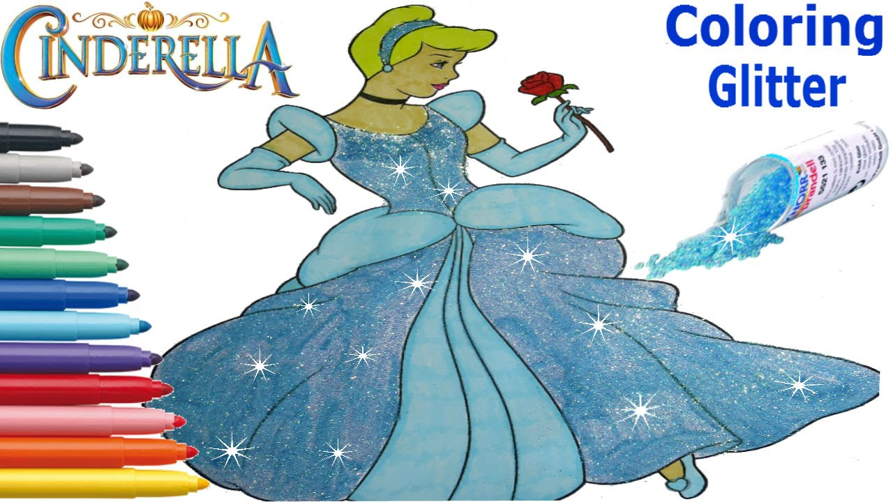 Disney Princess Cinderella Coloring Book Markers With Glitter